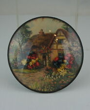 ANTIQUE WALL PLAQUE UNDER GLASS OR PLASTIC W/ REAL DRY PAINTED FLOWERS