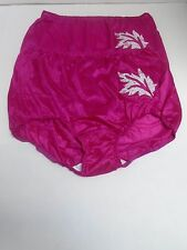 (2) Contessa Plus Nylon Brief Panties with Decorative Applique Size 11 / 4X PINK