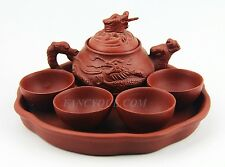 CHINESE YIXING ZISHA CLAY ARTISTIC RED TEA SET TEAPOT, 4 BOWLS & TRAY NEW # 11