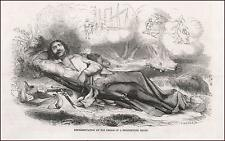 GOLD MINERS DREAMS OF FINDING GOLD & SHIPPING IT HOME, antique engraving 1853