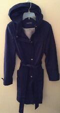 Calvin Klein Navy Blue Soft Shell Full Zip Tie Front Trench Coat Sz S