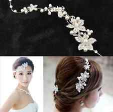 Ladies Silver Rhinestone Bridal Wedding Flower Pearls Headband Hair Clip Comb