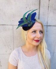 Velvet Navy Royal Blue Green Peacock Statement Feather Fascinator Races Hat 2412