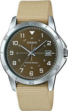 Casio MTP-V008B-5B Mens Analog Silver Tone Watch Brown Fabric Band Date New