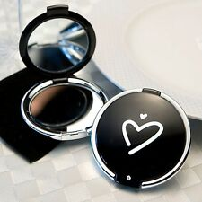 Styling Black Heart Compact Mirror Wedding Favor Gift Bridal Shower Birthday