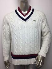 Vintage Izod Lacoste Men's Sweater Cable Knit Acrylic V Neck Stripe Preppy Large