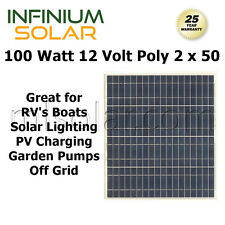 100w (2 x 50 watt) Infinium 12V Solar Panels RV Boat Off Grid Battery Charger A+