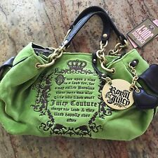 Juicy Couture Green Velour Brown Leather&Gold Tone Handbag/Purse NWT