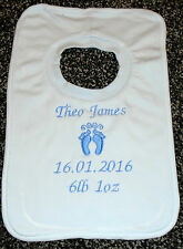 Personalised Embroidered Baby Feet Motif Bib Blue. Lovely Gift, Present newborn