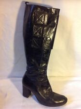 Vera Gomma Black Knee High Leather Boots Size 36