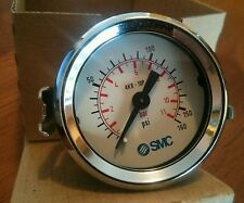 NEW IN BOX SMC PRESSURE GAUGE 4K8-10P 0-11 bar 0-160 psi GLASS FACE 40 mm panel