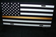 THIN GOLD LINE LINE METAL NOVELTY LICENSE PLATE BLACK AND WHITE AMERICAN FLAG