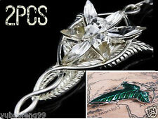 2xSet LOTR Lord Of The Rings Elven Leaf Brooch Arwen Evenstar Pendant Necklace