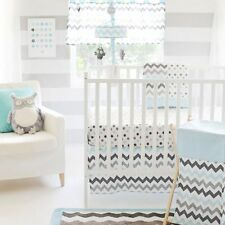 My Baby Sam 4 Piece Nursery Crib Bedding Set Chevron Baby Aqua with Bumper NEW