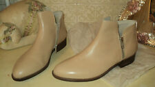 ITALIAN BATA BEIGE LEATHER ANKLE SHOES BOOTS LOW HEELS 2 ZIPPERS EU38*UK5*US7,5