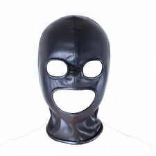 Faux Leather Full Head Zip Bondage Fetish Eyes Mouth Holes Hood 'H03'