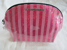 Victoria's Secret Bling Sequin Pink Striped Cosmetic Makeup Bag Purse