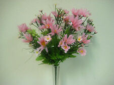 "PINK Daisy Mixed Flowers Bush Artificial Silk 16"" Bouquet 818PK"