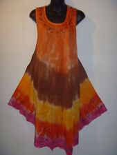 Halloween Costume Party Dress Fit 1X 2X 3X Plus Tunic Orange Brown Tie Dye 3016