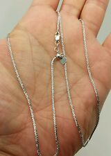 "10k Solid White Gold Adjustable Sparkle Necklace Pendant Chain Up to 22"" 1.5mm"