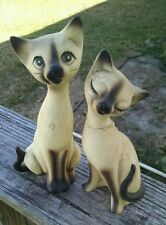 "Vintage Norcrest Siamese Cat Figurine A-865 8"" Tall with Whiskers Japan"
