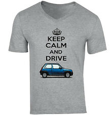 RENAULT 5 KEEP CALM AND DRIVE - NEW COTTON GREY V-NECK TSHIRT