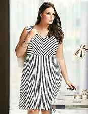 CLEARANCE New Lane Bryant $80 Striped Knit Skater Fit & Flare Dress Plus 14 1X