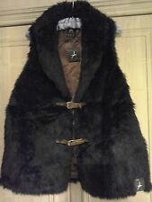 Ladies Black Fake Fur Sleeveless Jacket - size 18