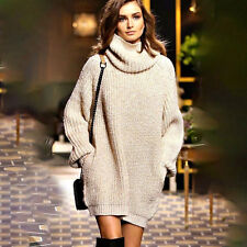 Womens Chunky Knit Jumper Pocket Oversized Loose Pullover Sweater Baggy Dress