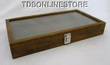 Rustic Wood Glass Top Display Case Antique Brown Color