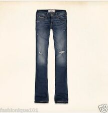 NWT HOLLISTER WOMENS MEDIUM WASH DESTROYED BOOT CUT JEANS SIZE 5R W27/ L 33