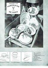 PUBLICITE ADVERTISING 126  1962  Porcelaine à feu Porcelaine de Paris
