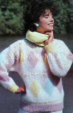 Vintage Knitting Pattern LADIES DIAMOND SLASH NECK RIBBON TRIM SWEATER 81-97 cm