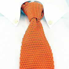 Orange Knit Mens Necktie Jacob Alexander Fashion Knitted Square End Tie New