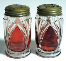 Heisey - No 15016 MILLARD - Ruby Stained Salt & Pepper Shakers (2)