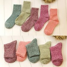 5 Pairs Women Wool Cashmere Warm Socks Soft Solid Thick Casual Socks Winter