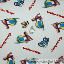 BonEful Fabric FQ Cotton Quilt White Blue Red Curious George US Baby Bike Monkey