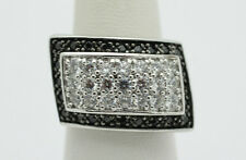 Sterling Silver .925 Modern Large Skewed RectangleCZ Fashion Ring Sz 7  J629