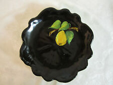 Vintage French Hand Painted Black Plate Pear on Round Leaf Cannes Ch. M. Roux
