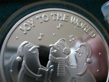 1-OZ.CHRISTMAS PENGUINS SING JOY TO THE WORLD  ENGRAVABLE  COIN SILVER .999+GOLD