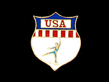 USA Men's Skating Lapel Pin PATRIOTIC DESIGN