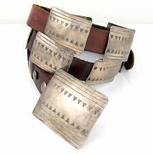 Vintage Navajo Handmade Hand Stamped Sterling Silver Leather Concho Belt | G OI