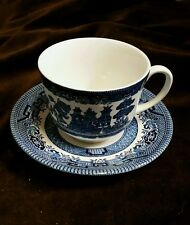 """Churchill Blue Willow China cup and saucer plate  5 1/2""""  England Lion Imprint"""
