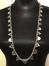 LUCKY BRAND Silver-Tone Triangle & Leather Long Necklace NWT L@@K Fast Shipping!