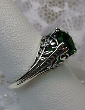 Art Deco Floral *Green Emerald*Solid Sterling Silver Flower Filigree Ring Size 8