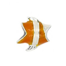 ZABLE STERLING SILVER ORANGE CLOWN FISH EUROPEAN BEAD