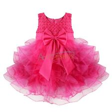 Baby Toddler Flower Girl Princess Party Pageant Wedding Bridesmaid Tutu Dress 3T