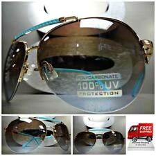 Mens Women CLASSIC RETRO VINTAGE Style SUN GLASSES SHADES Gold & Turquoise Frame
