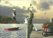 A Moment in Time Lighthouse 18 Alan Giana Boxed Christmas Cards by LPG Greetings