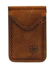 Ariat Western Mens Wallet Leather Card Case Clip Medium Brown A3513044